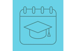 Graduation date color linear icon