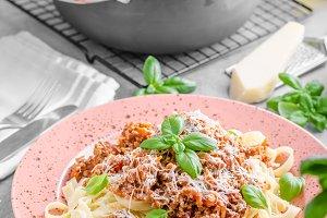Pasta bolognese delish food