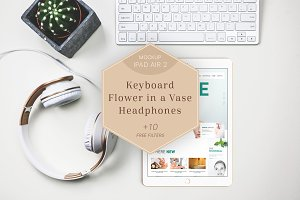 iPad Air 2 Mockup Headphones/Flower