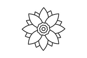 Lotus flower linear icon