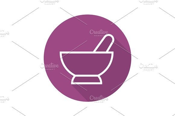 Mortar And Pestle Flat Linear Long Shadow Icon