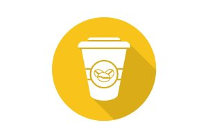 Takeaway coffee cup. Flat design long shadow glyph icon