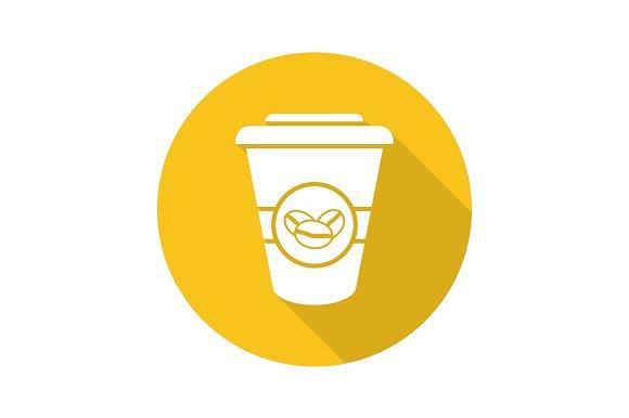 Takeaway Coffee Cup Flat Design Long Shadow Glyph Icon