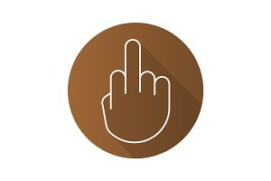 Middle finger up flat linear long shadow icon