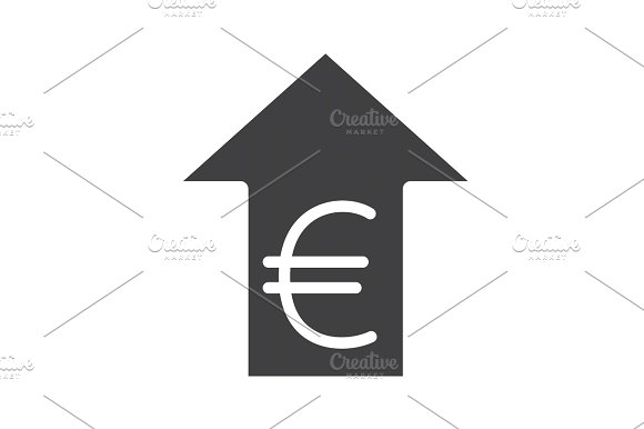 Euro Rate Rising Glyph Icon