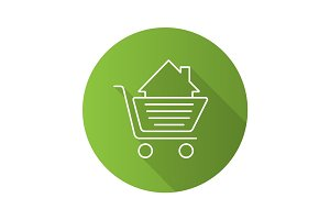 Shopping cart with house inside. Flat linear long shadow icon