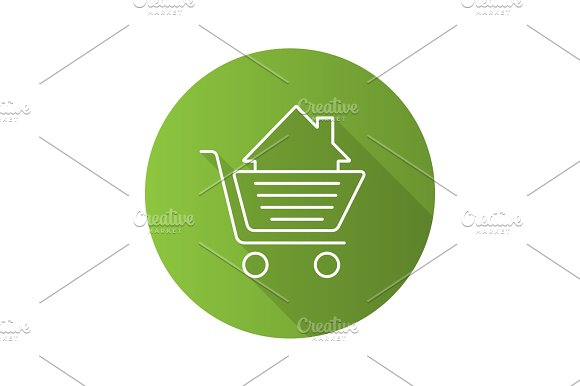 Shopping Cart With House Inside Flat Linear Long Shadow Icon