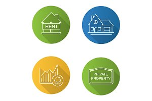 Real estate market flat linear long shadow icons set