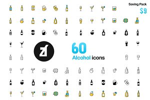 60 Alcohol icons - Friendly Design