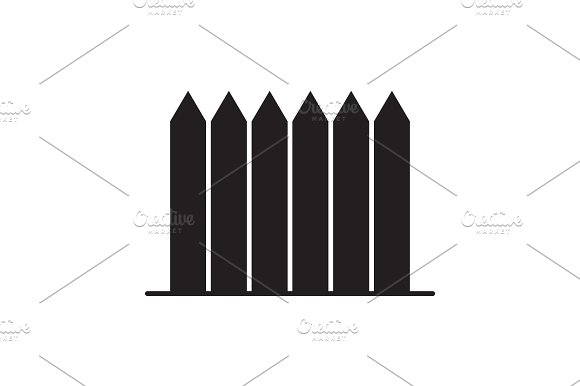 Wooden Fence Palisade Picket Glyph Icon