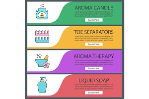 Spa salon web banner templates set