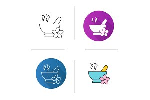 Spa salon mortar and pestle icon