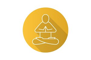 Yoga position flat linear long shadow icon