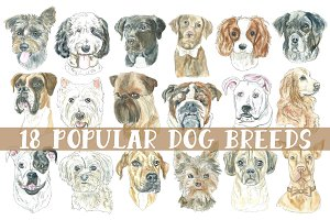 Watercolor Dog Breeds Clipart