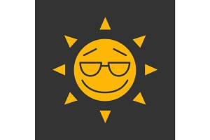 Cool sun smile glyph color icon