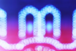 Blue bokeh decoration with light leak background