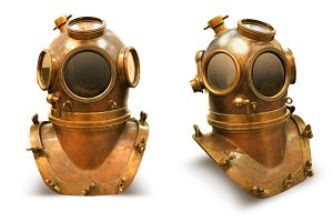 Copper old vintage deeps sea diving suit