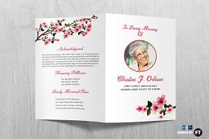 flower funeral program template brochure templates creative market