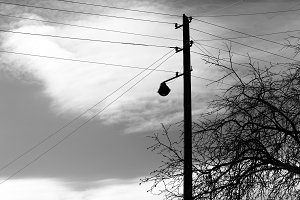 Vertical black and white power line background