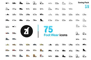 75 Foot Wear Icons - Friendly Design