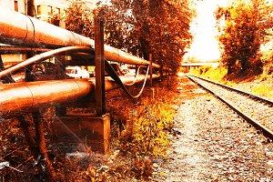 Cyberpunk railway city background