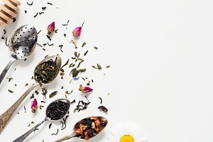 Dried tea, flowers, vintage cutlery