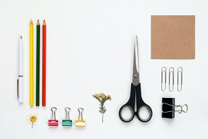 Flat lay of artist tools