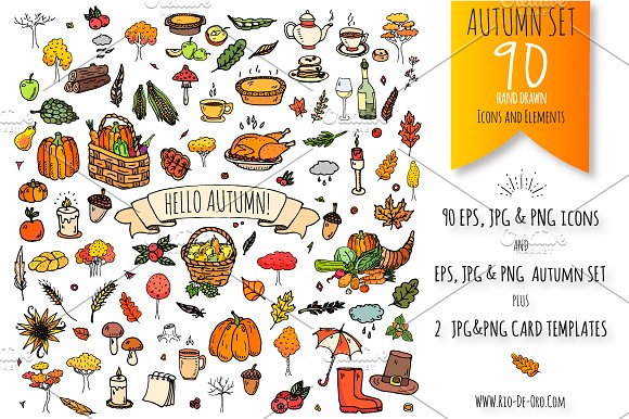 90 Autumn Color Hand Drawn Objects