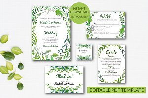Wedding Invitation Set Template
