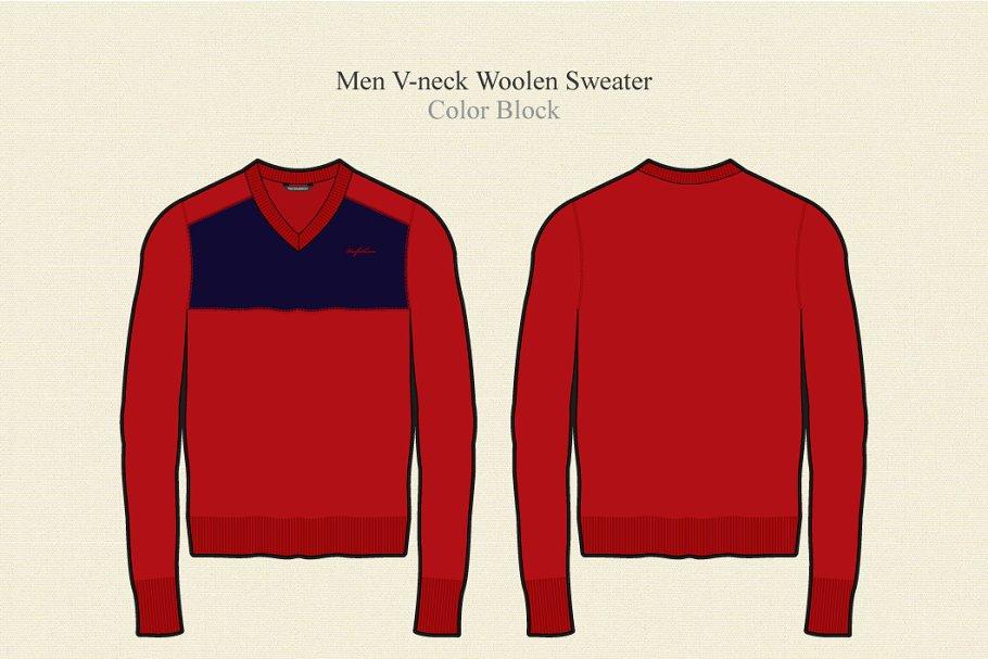Men V-neck Woolen Sweater