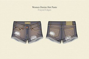 Women Denim Hot Pants Frayed
