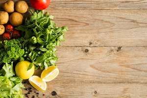 Fresh vegetables, herbs for cooking
