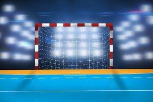 Composite image of handball goal