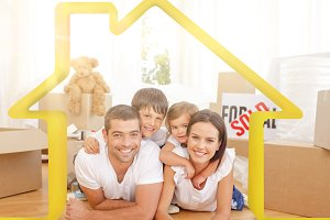 Composite image of happy family after buying new house