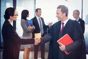 Businesswoman shaking hands with lawyer