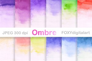 Watercolor Ombre Digital Paper