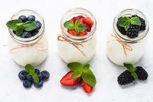 Fresh homemade yogurt with berries