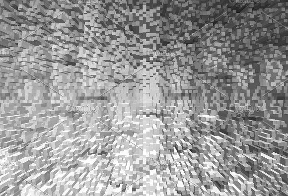 Black And White 3D Extruded Blocks City Illustration Background