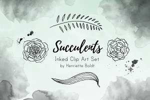 Succulents Inked Clip Art Set
