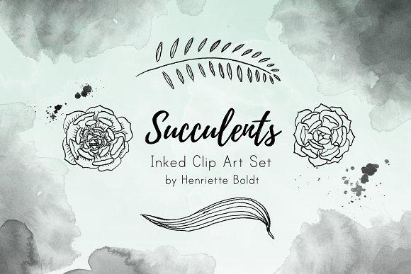 Succulents Inked Clip Art Set
