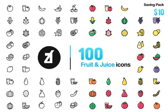 100 Fruit Icons Friendly Design