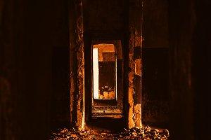 Vertical vault corridor bokeh background