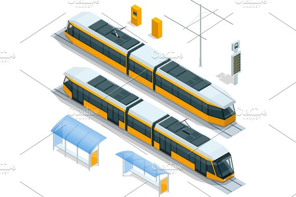 Set Of Isometric Passenger Tram Train Streetcar City Electric Transport Streetcar Isolated On White Modern Urban Tramcar Light Rail Train For Branding Identity And Advertising Design