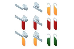 Vector isometric hotel handles with hanging signs. Set of Blank Paper Plastic Door Handle Lock Hangers Isolated on Background