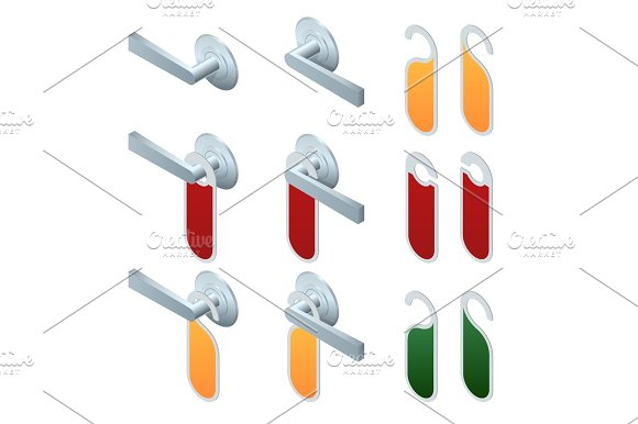 Vector Isometric Hotel Handles With Hanging Signs Set Of Blank Paper Plastic Door Handle Lock Hangers Isolated On Background