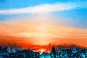 Vibrant sunset landscape illustration background
