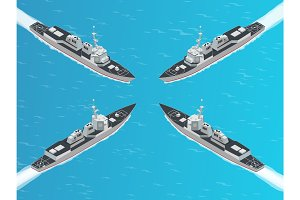 Isometric Guided missile destroyer. Vector hight quality Arleigh Burke-class guided missile destroyer. Military ship