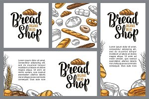 Vertical poster with bread. Vector color hand drawn vintage engraving