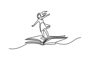 Little girl flying on book in the sky