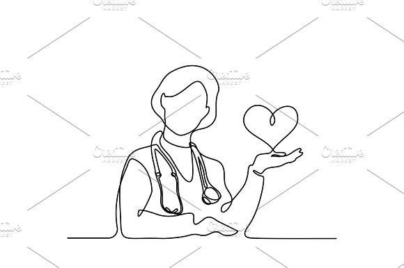 Doctor With Stethoscope Treat Patient Woman